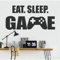 napis na ścianę eat sleep game