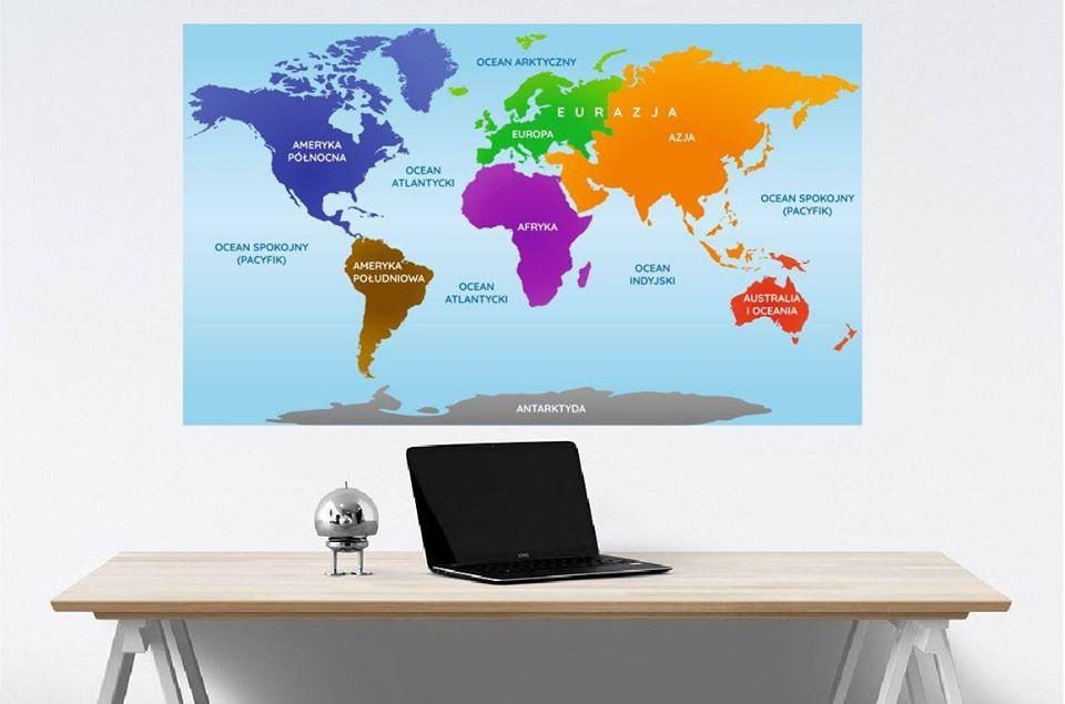 mapa kontynenty na ścianę