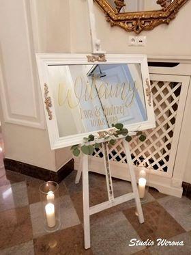 naklejka ślubna na lustro