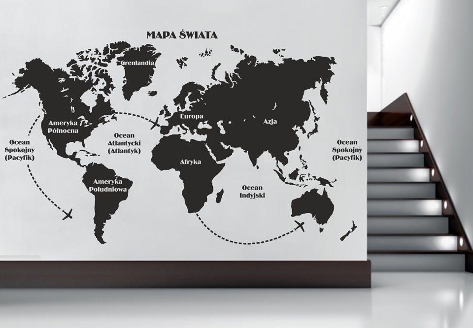 jednokolorowa mapa świata na ścianę