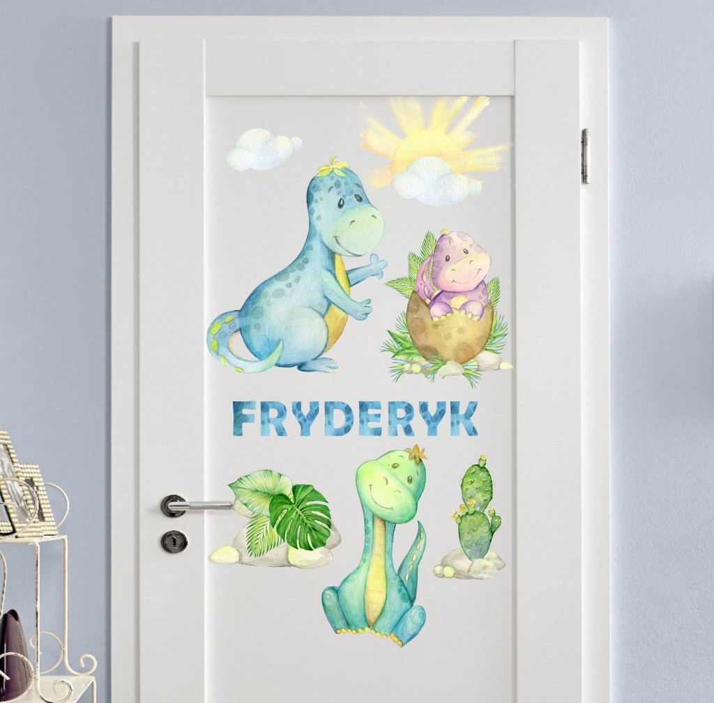 Naklejki z dinozaurami i imieniem