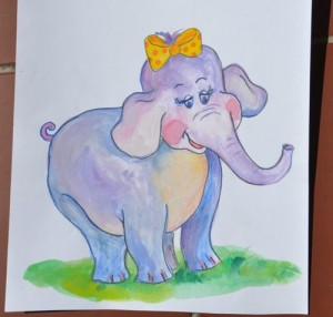 naklejka ścienna malowany słonik
