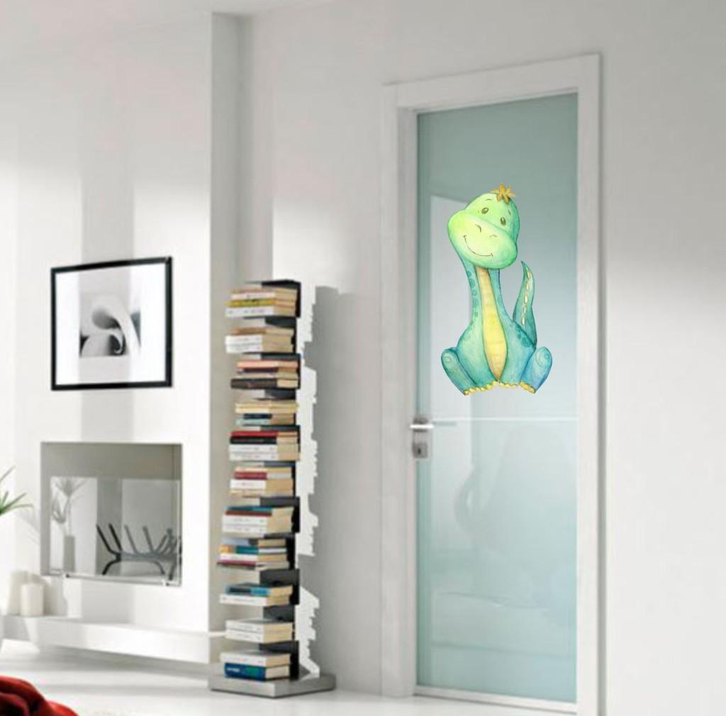 naklejka na drzwi z dinozaurem