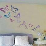 motyle malowane na ścianie