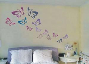 szablony motyle malowane na ścianie