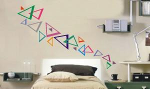 naklejka na ścianę kolorowe trójkąty
