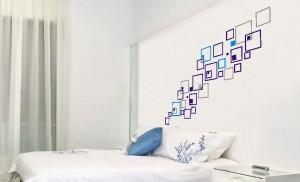 naklejki na ścianę wzory geometryczne kwadraty
