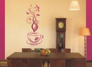 naklejka ścienna filiżanka z kawą i kwiatami