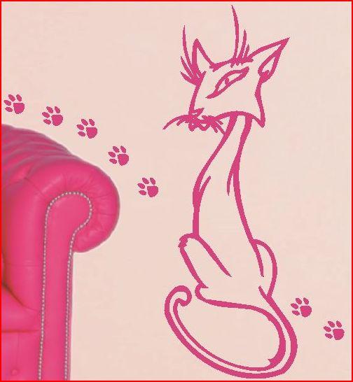 różowy kot na ścianę