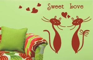 naklejka ścienna zakochane koty