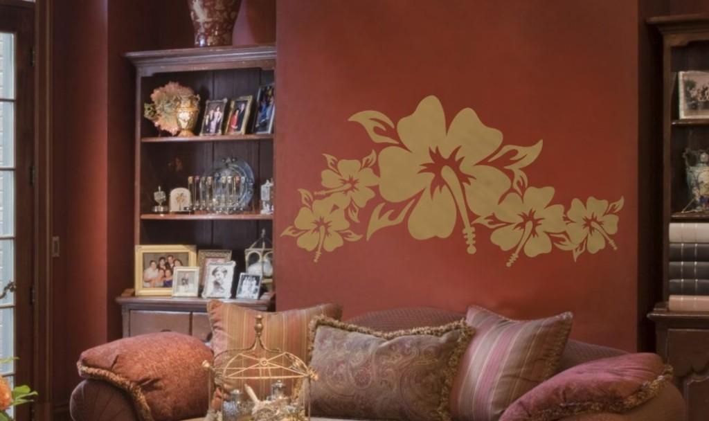 hibiskus orientalna naklejka na ścianę