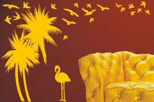 naklejka ścienna palmy flaming ptaki