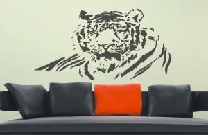 naklejka ścienna tygrys w salonie