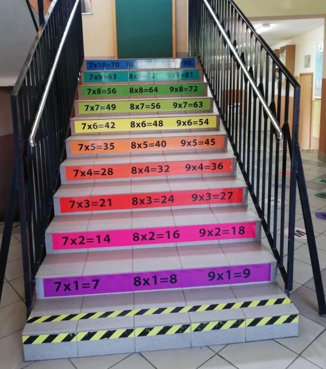 Kolorowa tabliczka mnożenia na schodach szkolnych