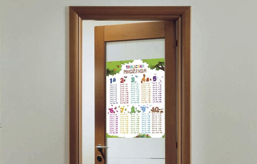 tabliczka mnożenia na drzwi