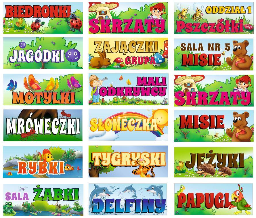 tabliczki z nazwami grup