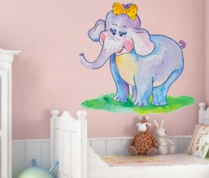 malowany słonik na ścianie